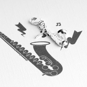 Saxophone Charm In Sterling Silver