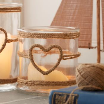 Rope Heart Candle Holder
