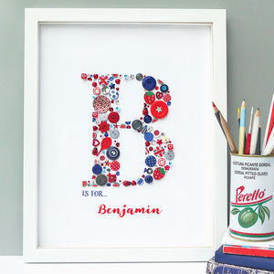 Personalised Boy Initial Button Letter Art - mixed media & collage