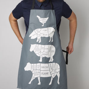 Butcher's Meat Cuts Kitchen Apron - home sale