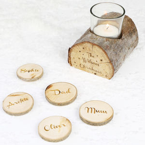 Personalised Wooden Log Candle Holder - table decorations