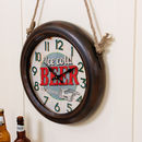 Ice Cold Beer Retro Industrial Clock