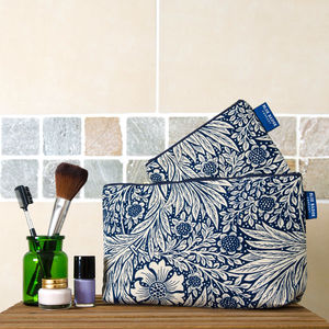 William Morris Marigold Indigo Toiletry Wash Bag Set - make-up & wash bags