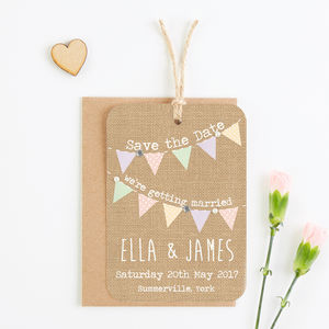 Burlap Gem Save The Date - wedding stationery