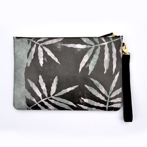 Screenprint Leaf Leather Clutch Bag