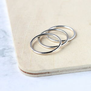 Heavy Sterling Silver Stacking Rings Three