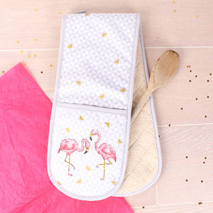 Tropical Flamingo Double Oven Gloves - summer sale