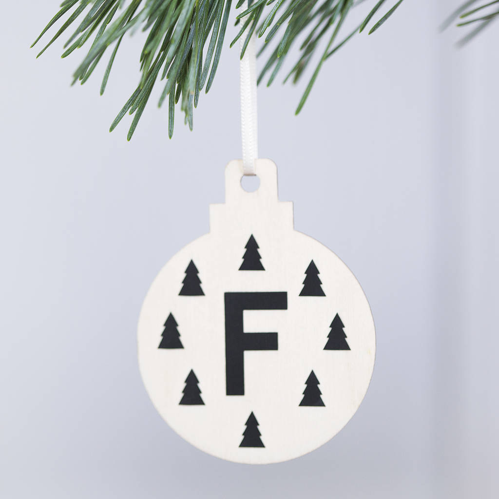 personalised initial christmas woodland bauble by clouds and ...