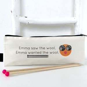 Want The Wool Personalised Knitting Needle Bag