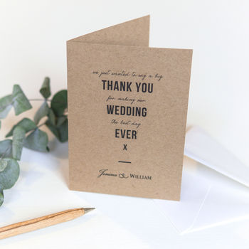 Wedding Thank You Card / Kraft