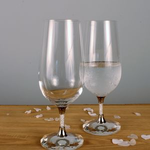 Pair Of Water Glasses Filled With Swarovski Crystals