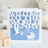 Personalised New Baby Stork Card - cards