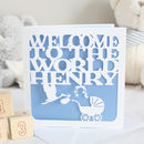 Personalised New Baby Stork Card