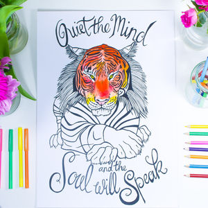 'Quiet The Mind' Tiger Colouring Print