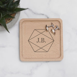 Personalised Initials In Geometric Shape Coin Tray