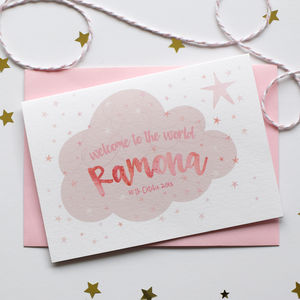 Personalised New Baby Cloud Card - new baby & christening cards
