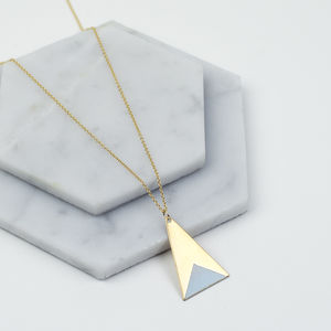 Long Brass Triangle Necklace - geometric shapes