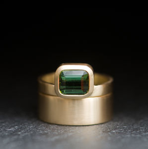 Tourmaline Gold Wedding Set
