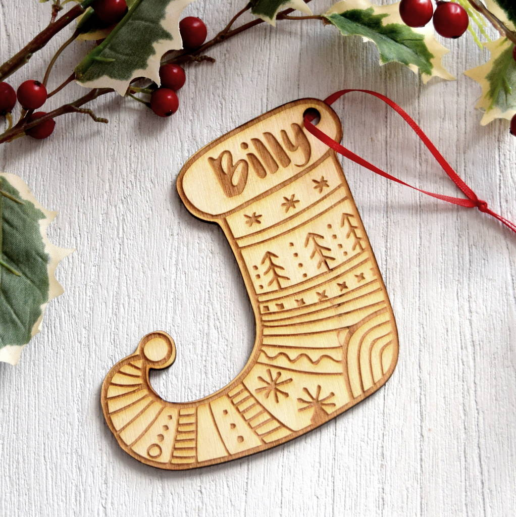 Personalised Wooden Santa Stocking Christmas Decoration By The