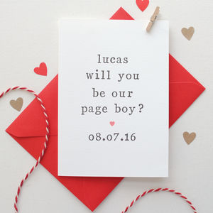 Personalised 'Will You Be Our Page Boy?' Card - wedding, engagement & anniversary cards