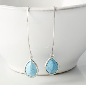 Silver Plated Long Drop Teardrop Earrings - earrings