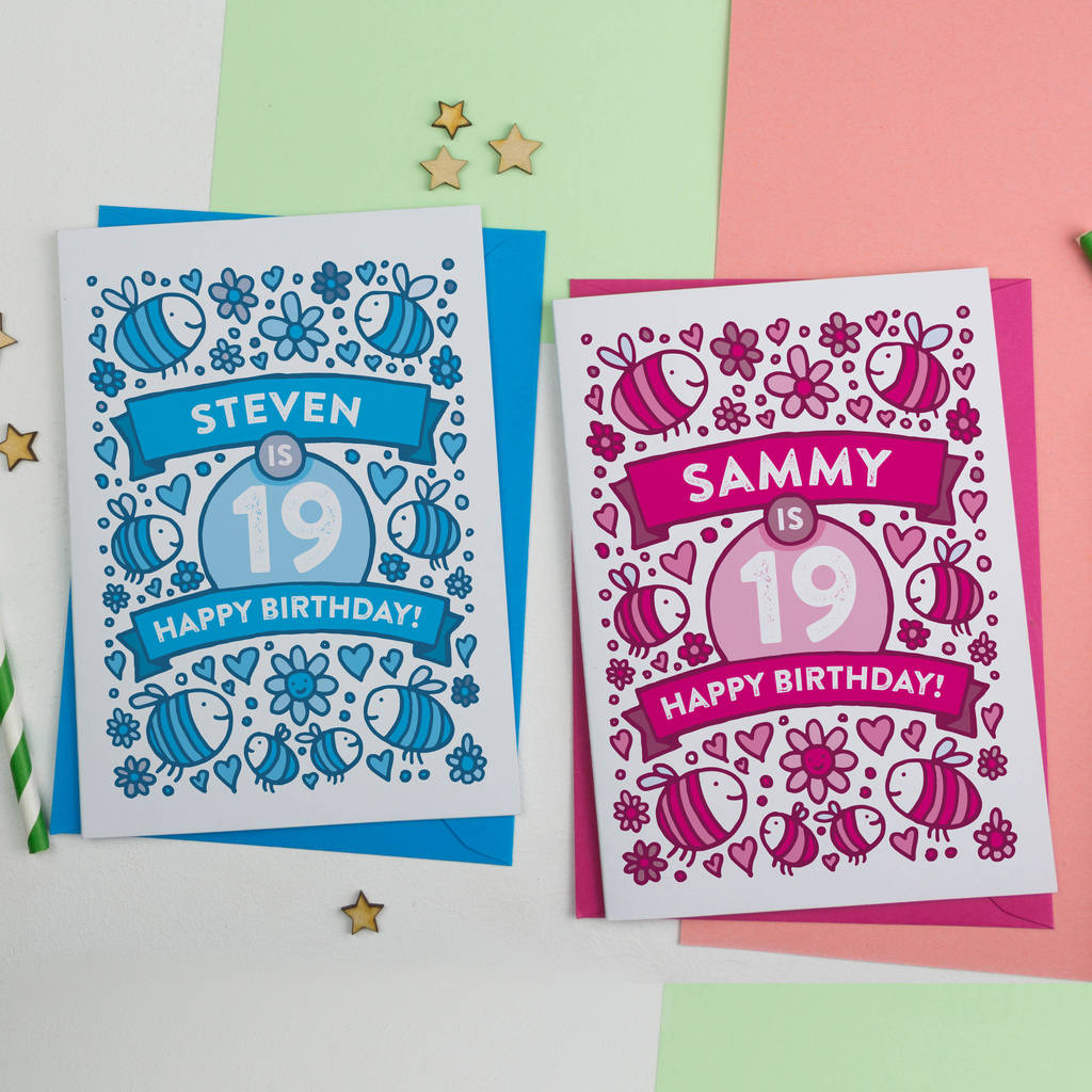 Personalised Bee's Illustrated 19th Birthday Card
