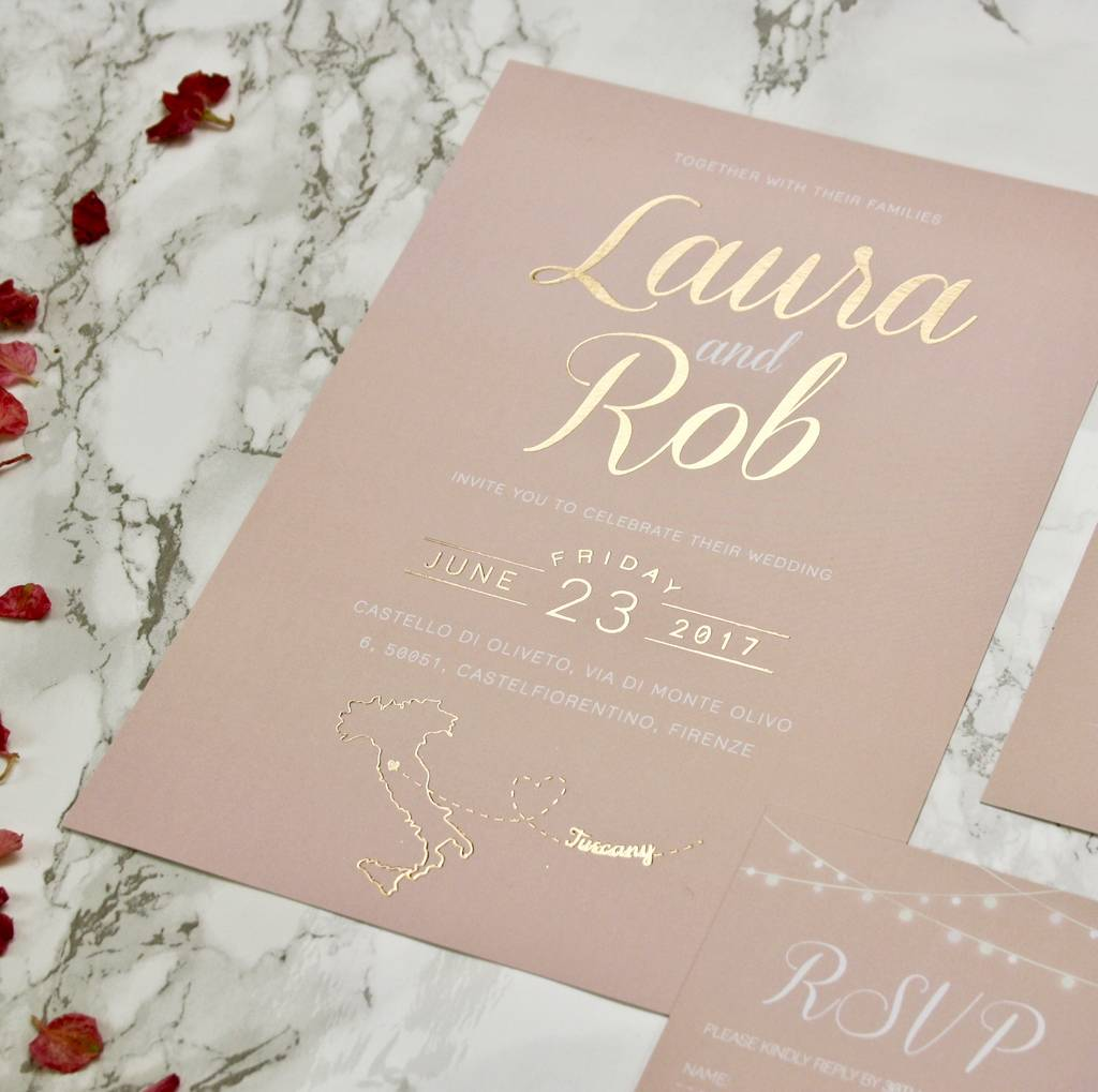 Luscious Type Blush And Gold Wedding Invites By Rodo