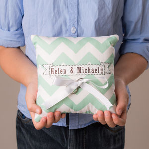 Wedding Ring Cushion Chevron Design