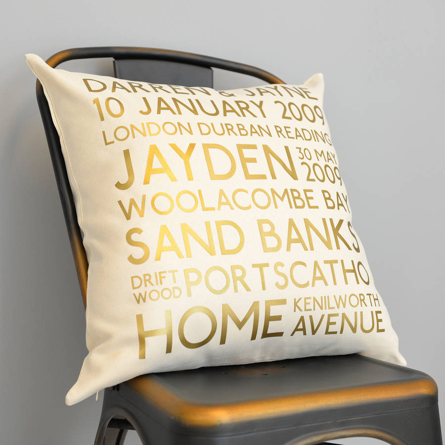 Personalised Gold Metallic Memories Cushion