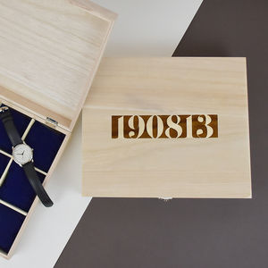 Date Personalised Wooden Watch Box - watch storage