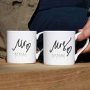 Mr And Mrs Pair Of Personalised Bone China Mugs