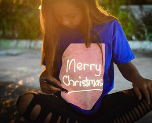 Children's Interactive Glow T Shirt In Blue And Peach