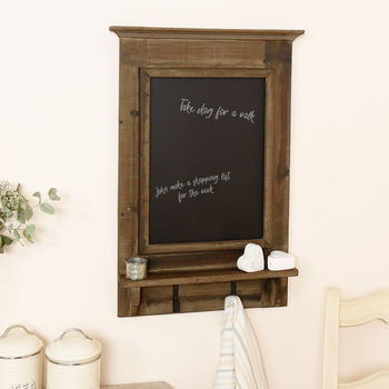 Wooden Country Wall Chalkboard With Hooks