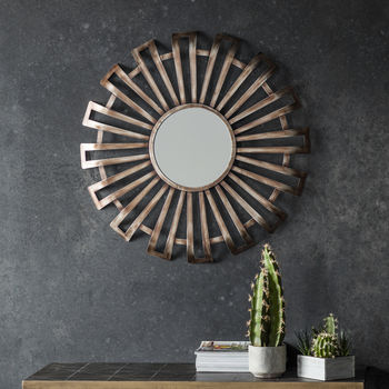 Round Metal Starburst Wall Mirror