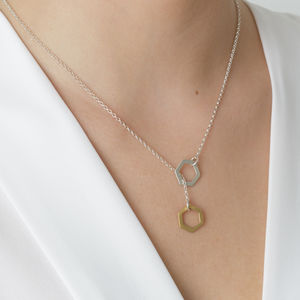 Gold And Silver Lariat Necklace