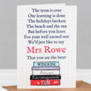 Personalised Teacher Poem Card