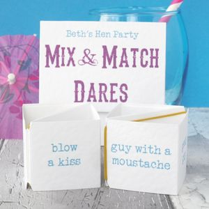Personalised 'Mix And Match Dares' Hen Party Game