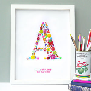 Personalised Baby Girl Button Letter Artwork - children's room