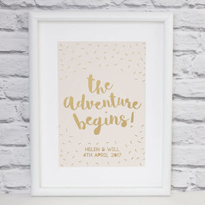 Personalised 'Adventure Begins' Papercut Print