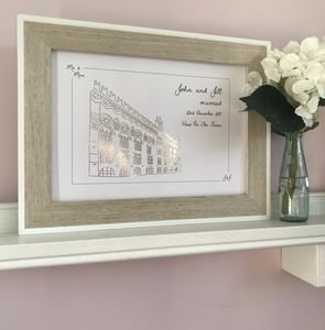 Metallic Personalised Wedding Venue Portrait