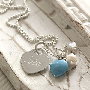 Personalised Turquoise Vintage Heart Necklace - naming day celebration gifts