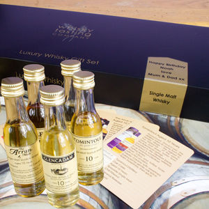 Personalised Five Bottle Whisky Gift Set - drinks connoisseur