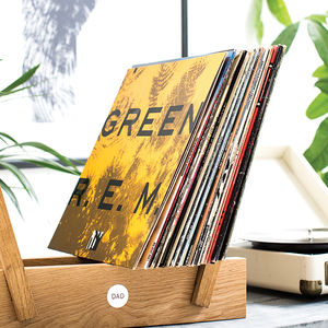Personalised Oak And Brass Vinyl Storage Rack - music-lover