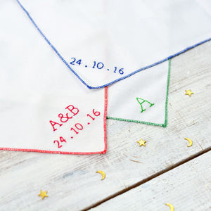 Classic Handmade Personalised Handkerchief - 2nd anniversary: cotton