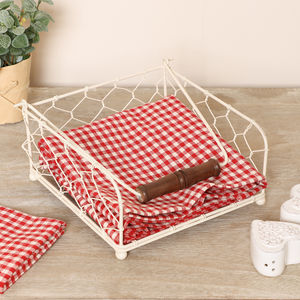 Country Style Gingham Napkins And Holder Set - table linen