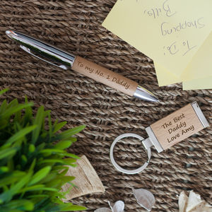 Personalised Wooden Pen And Keyring Set