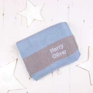 Personalised Baby Boys Stripy Blanket