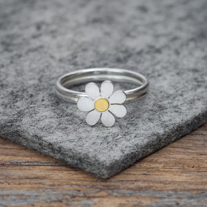 Forget Me Not Ring In Solid Silver And 18ct Gold
