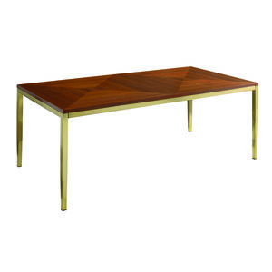 Italian Luxe Brass And Wood Dining Table