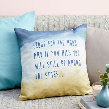 Shoot For The Moon Quote Decorative Cushion